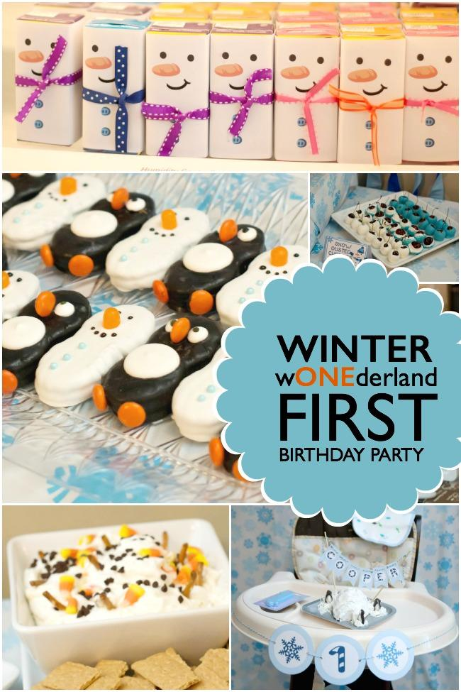 first birthday party activities ; winter-wonderland-first-birthday-party-for-boys