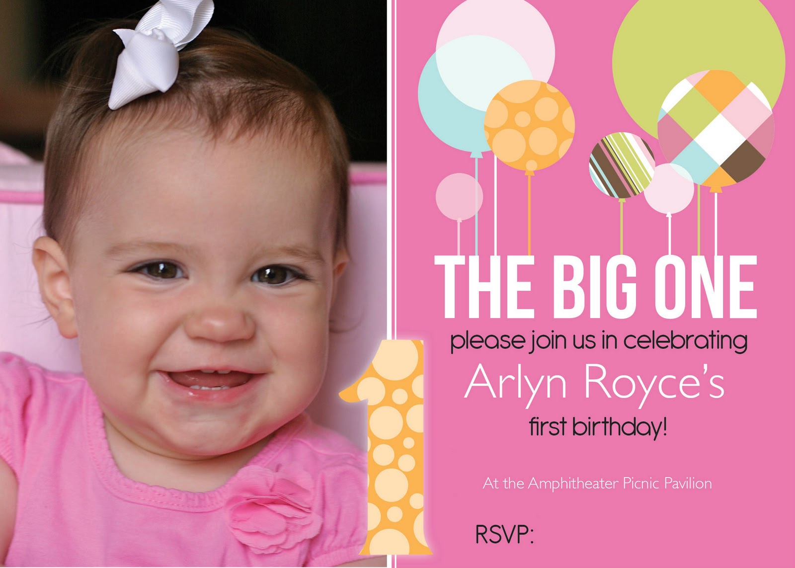 first birthday poster designs ; arlyn_5x7+edit