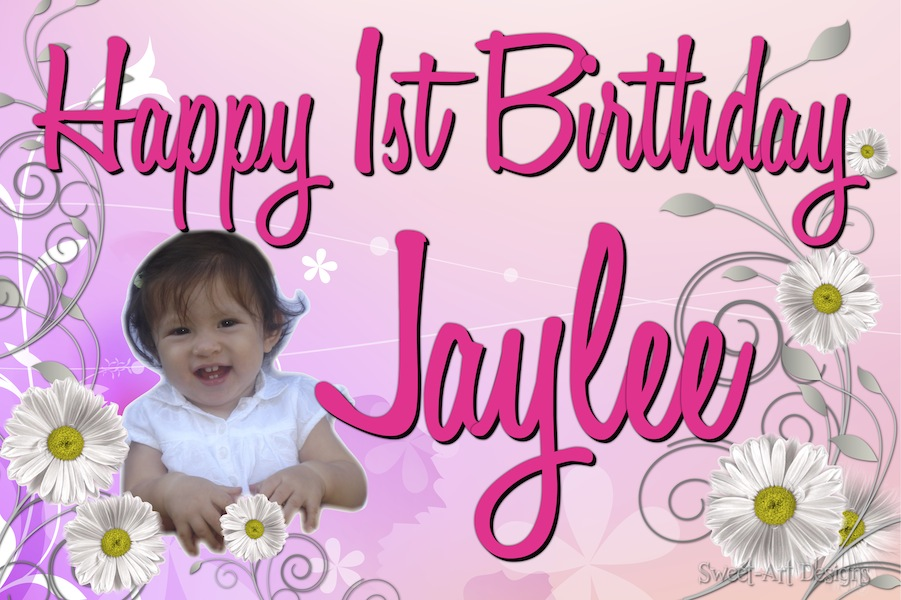 first birthday poster designs ; daisy-flowers-first-birthday-banner-6-x-4