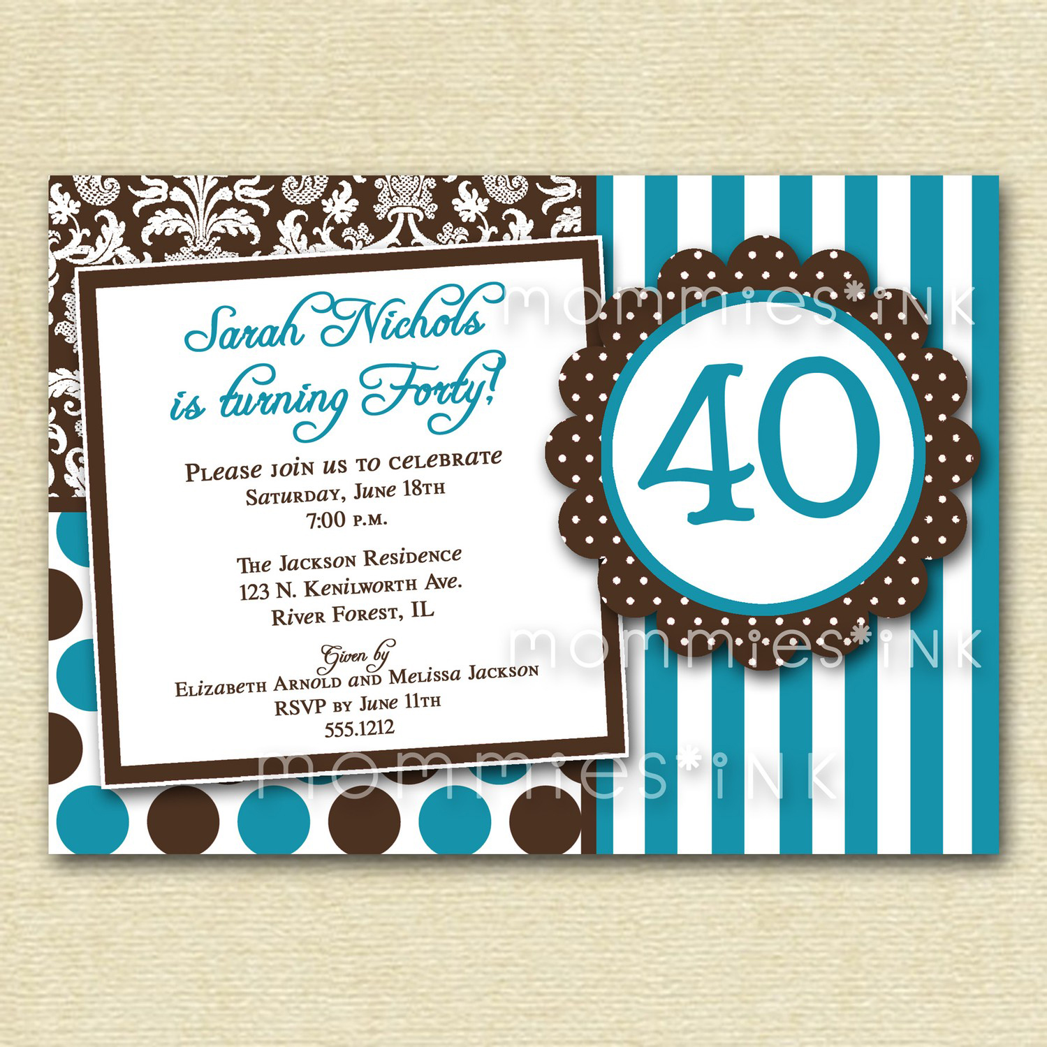 free 40th birthday invitation templates printable ; Impressive-Free-Printable-40th-Birthday-Invite-Cards-with-Blue-and-Black-Fonts-Colors-and-Striped-Colors