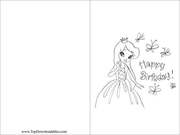 free birthday card designs printable ; princess-party-invitations-sketch-black-and-white-design-with-simple-front-and-back-cards-printable-birthday-card-template