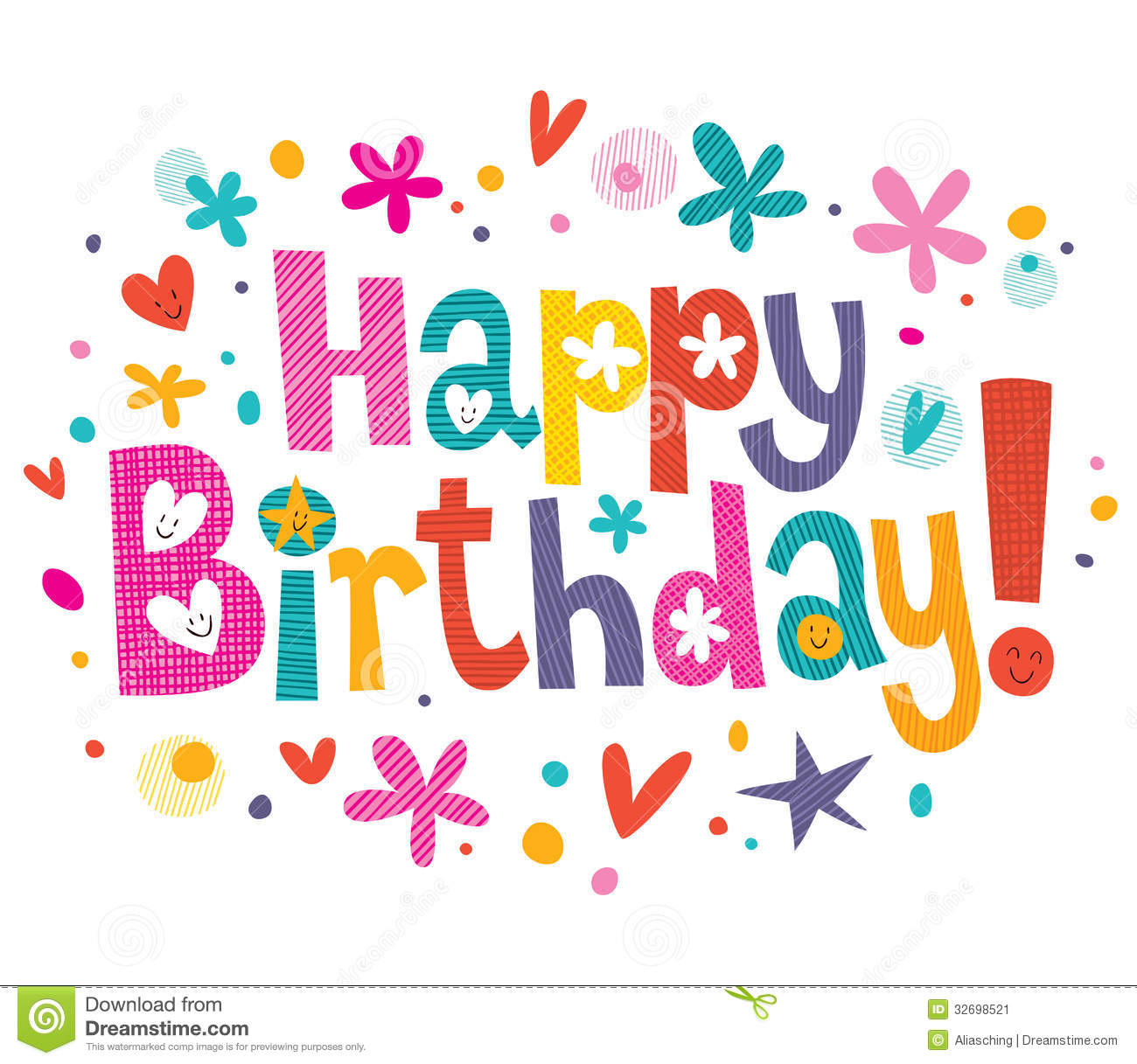 free birthday picture text messages ; happy-birthday-text-hand-drawn-artistic-32698521