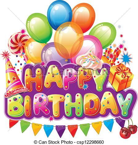 free happy birthday picture text messages ; happy-birthday-text-with-party-element-clip-art-vector_csp12298660