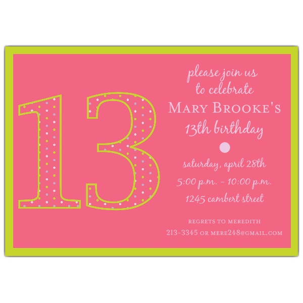 free printable 13th birthday invitation templates ; 28th-birthday-invitation-wording-13th-birthday-girl-dots-invitations-paperstyle