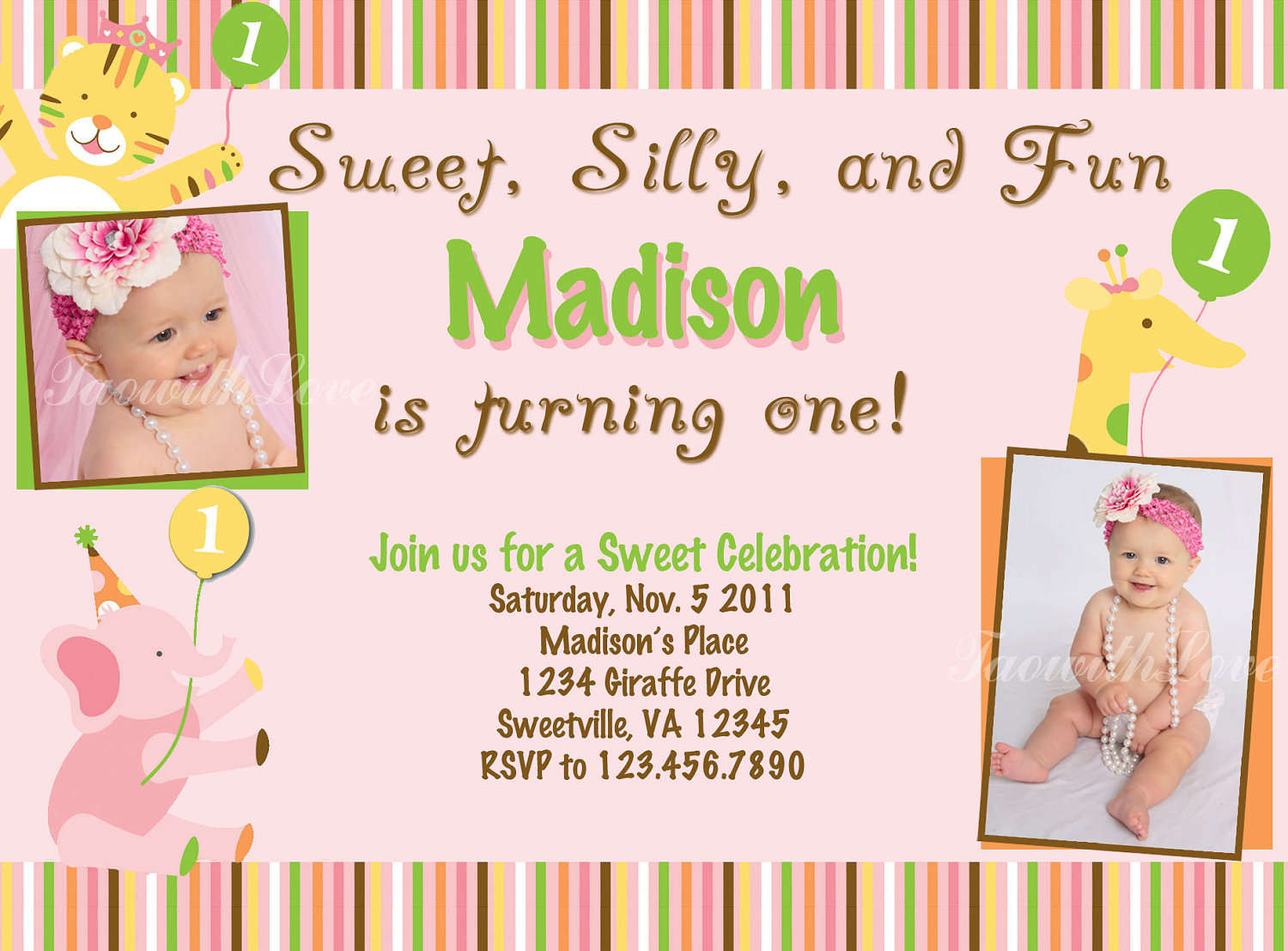 free printable 1st birthday invitations ; Sweet-Silly-and-Fun-Free-Printable-1st-Birthday-Invitations-with-Baby-Madison