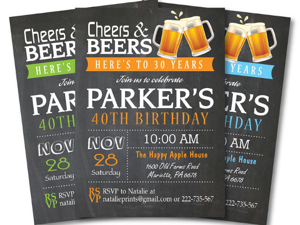 free printable 40th birthday party invitation templates ; 40th-Birthday-Cheers-and-Beers-Invitation