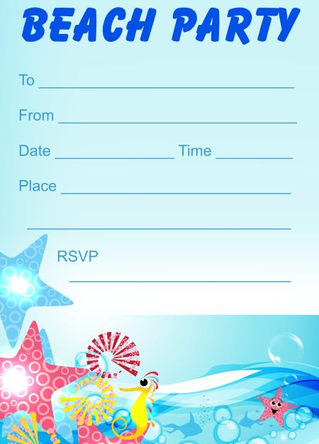 Free Printable Beach Themed Birthday Invitations Theme Party