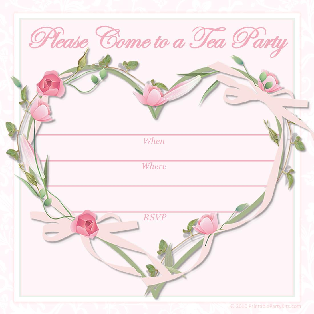 free printable birthday invitation cards templates ; Tea-Party-Invitations-Template