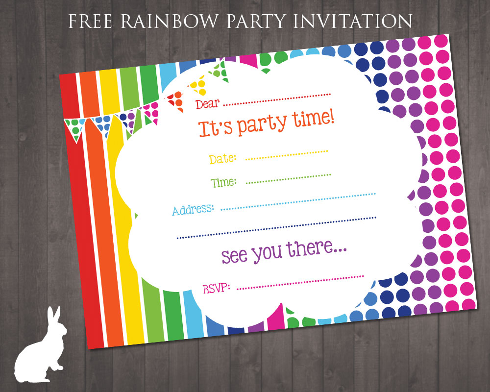 free printable birthday invitation cards templates ; free-party-invitation-rainbow-theme