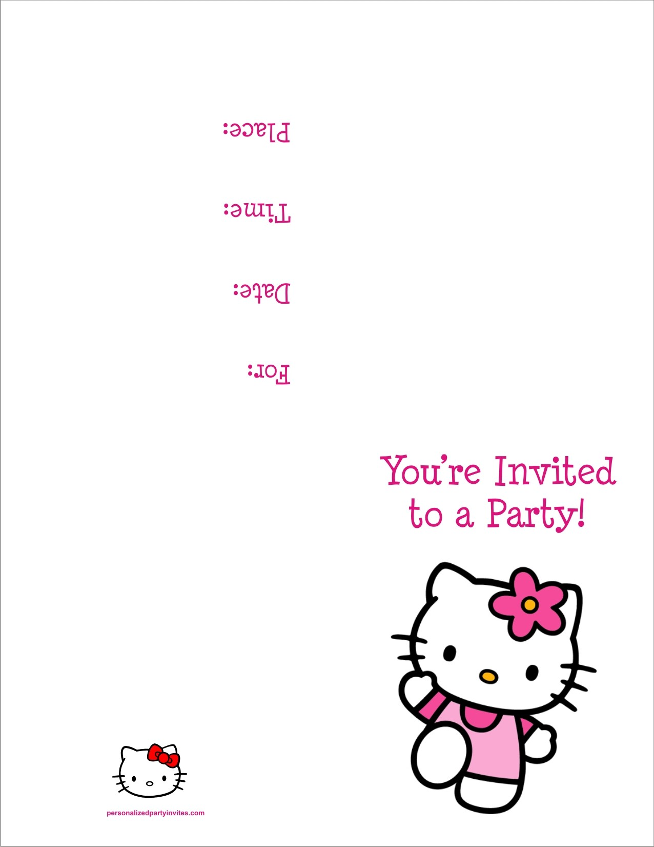 free printable birthday invitation cards templates ; hellokitty