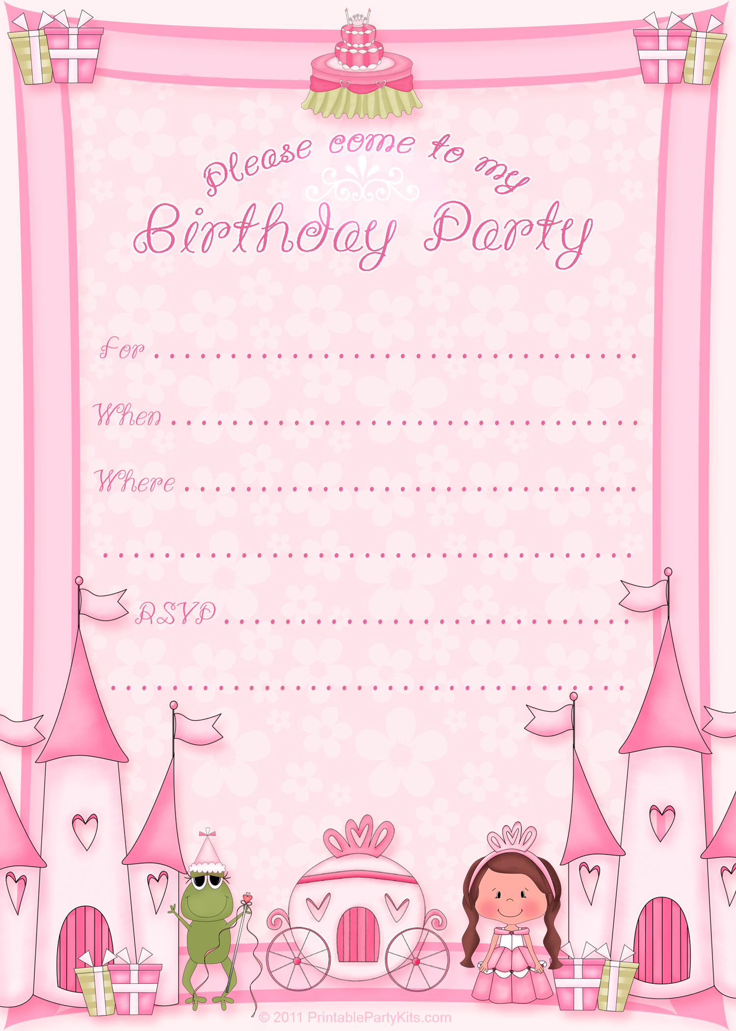 free printable birthday invitation cards templates ; princess-birthday-invite