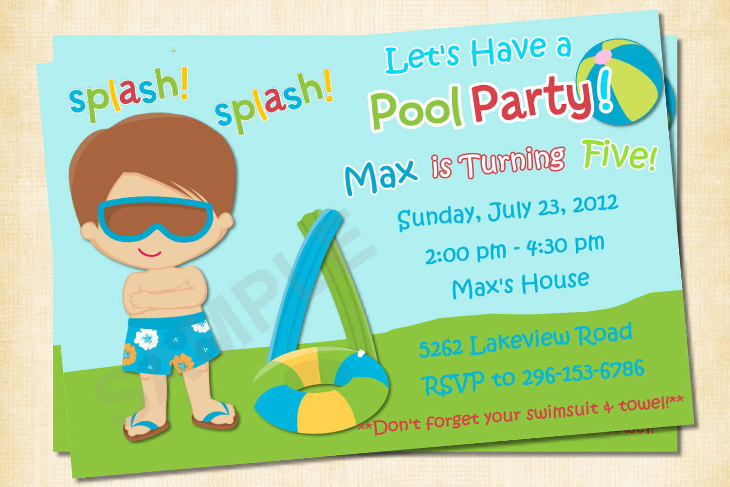 free printable birthday invitation templates for boys ; Free-Printable-Pool-Party-Birthday-Invitations-For-Boys