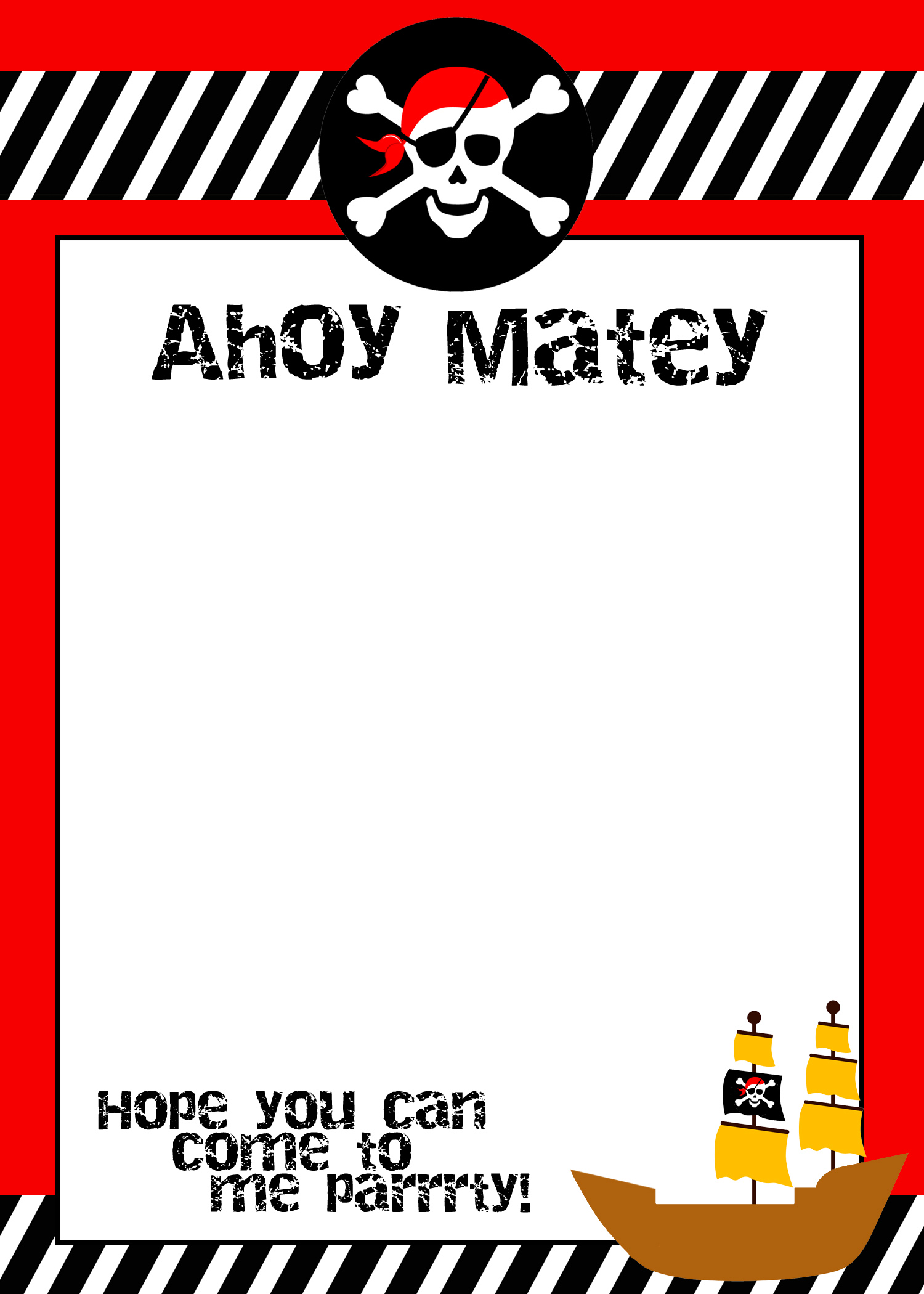 free printable birthday invitation templates for boys ; pirate-birthday-invitation-template