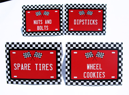 free printable birthday labels ; Race-Car-Party-Food-Labels