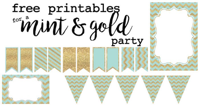 free printable birthday labels ; mint-and-gold-party-free-printables-short-e1467747998324