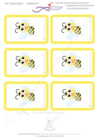 free printable birthday labels and tags ; bee-gt01