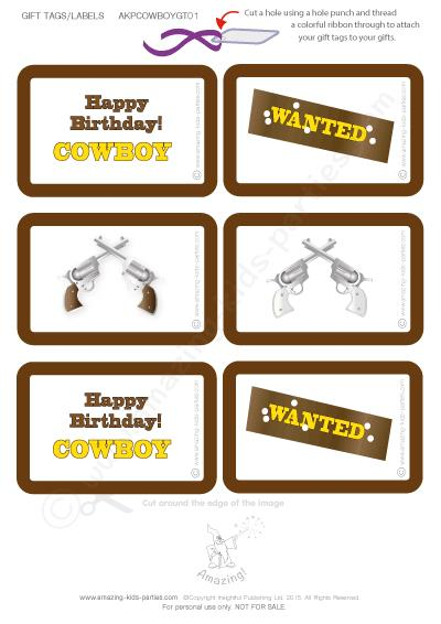 free printable birthday labels and tags ; cowboy-gt01