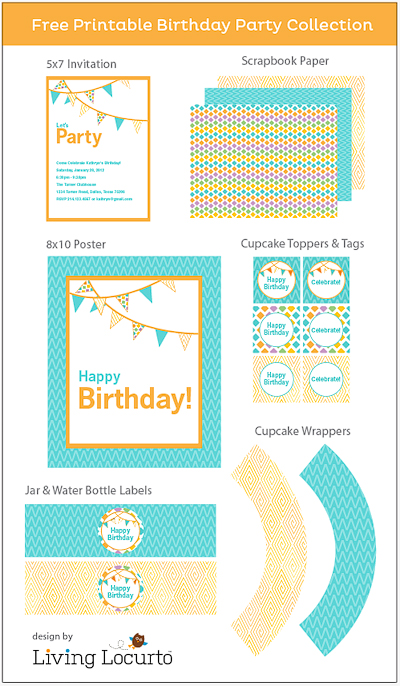 free printable birthday party labels ; Birthday-Party-Printables