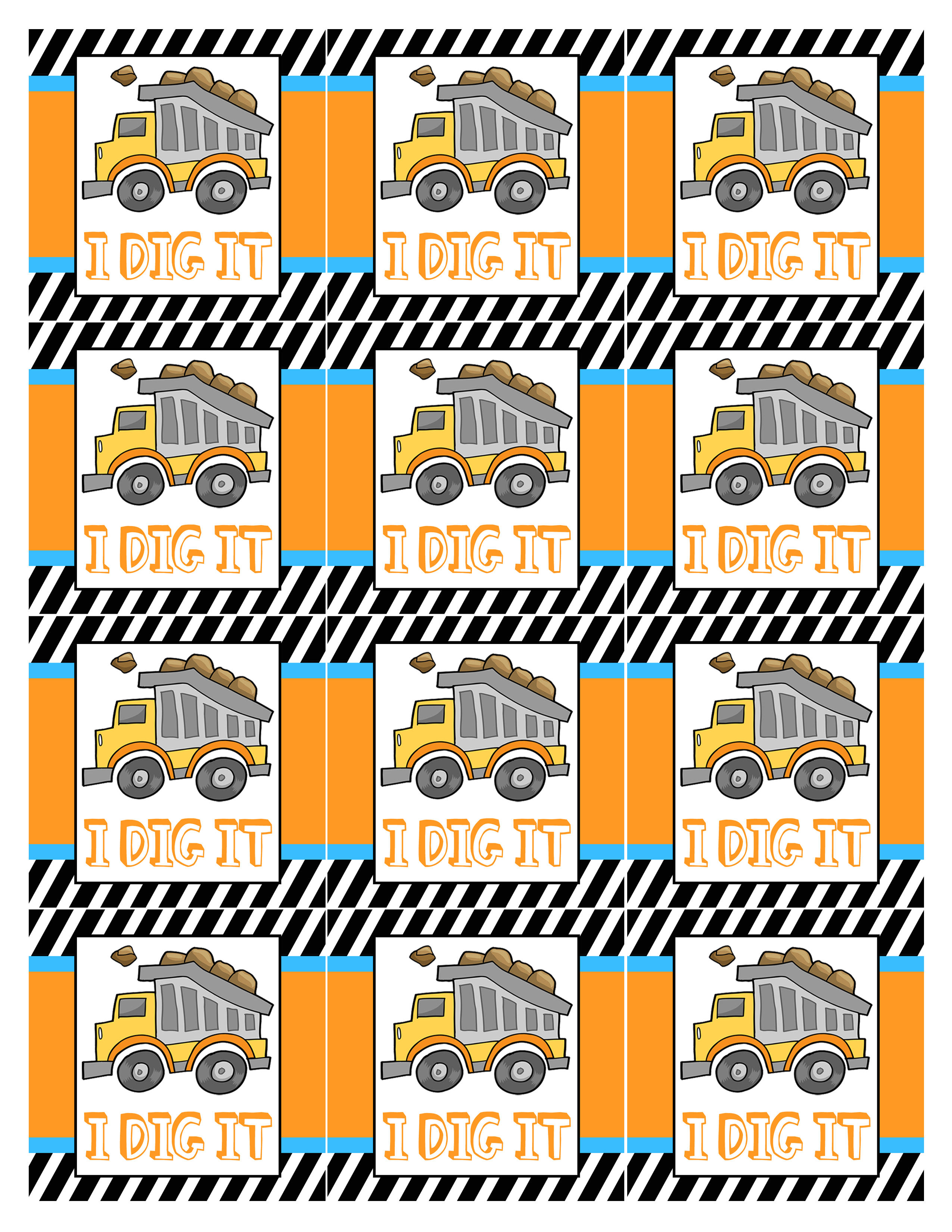free printable birthday party labels ; construction-party-tags