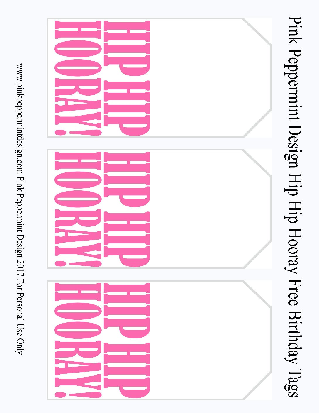 free printable birthday tags ; hip-hip-hooray-tags-Pink-Peppermint-Design