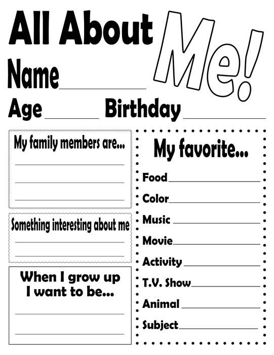 free printable birthday worksheets ; all%2520about%2520me