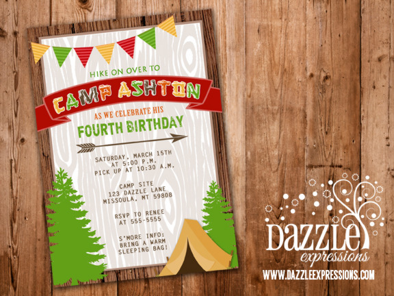 free printable camping themed birthday invitations ; Camping1