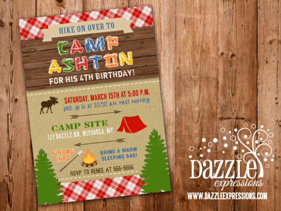 free printable camping themed birthday invitations ; Camping3