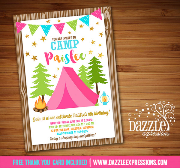 free printable camping themed birthday invitations ; Glamping