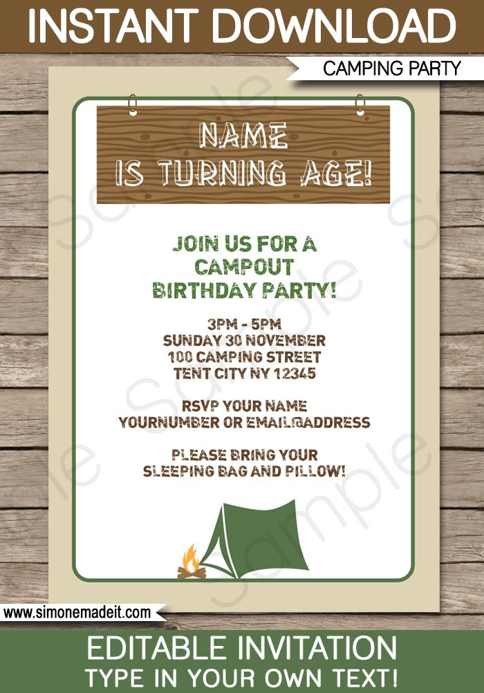 free printable camping themed birthday invitations ; camping-birthday-party-invitations-camping-party-invitations-template-birthday-party-download