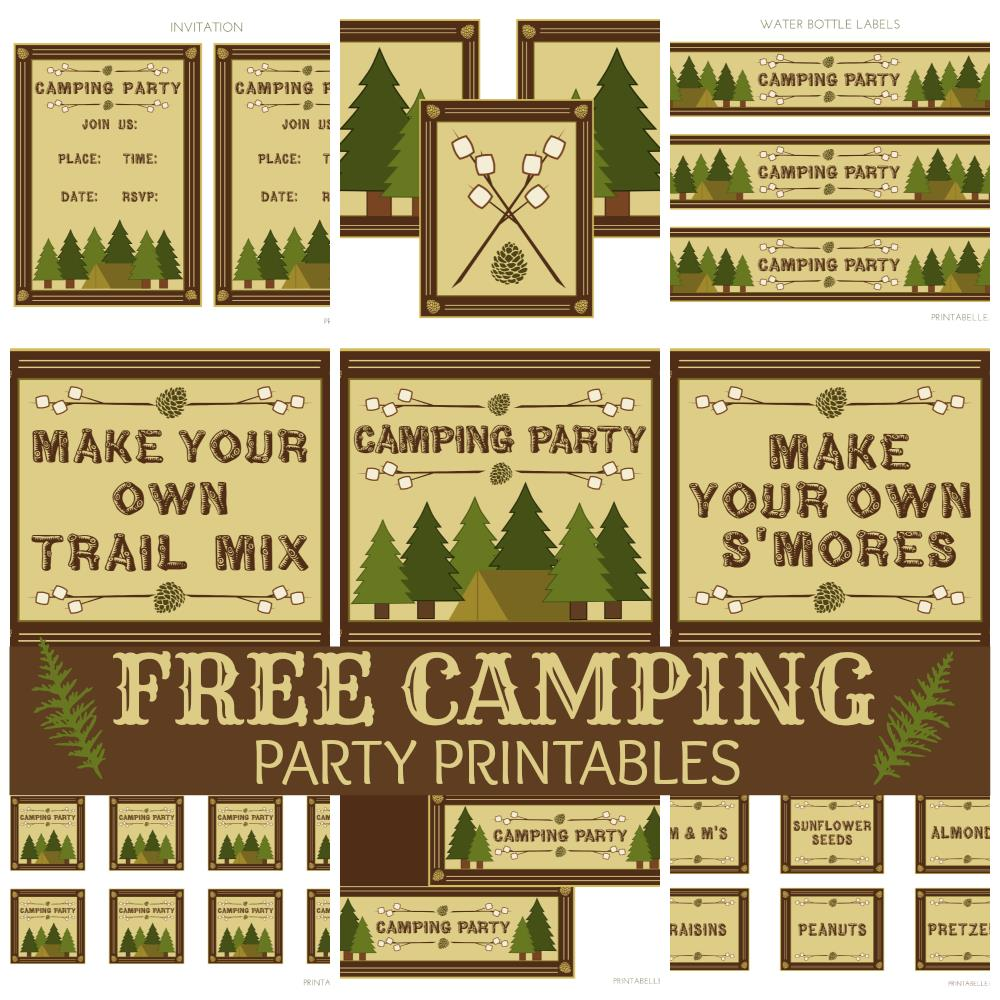 free printable camping themed birthday invitations ; campingpartyset