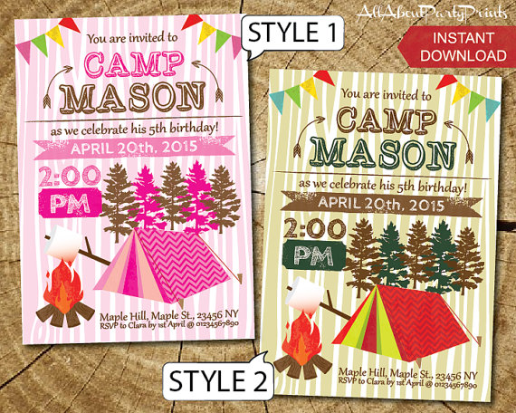 free printable camping themed birthday invitations ; d4aac4a1aea7ed2e8214827e496ae8f4