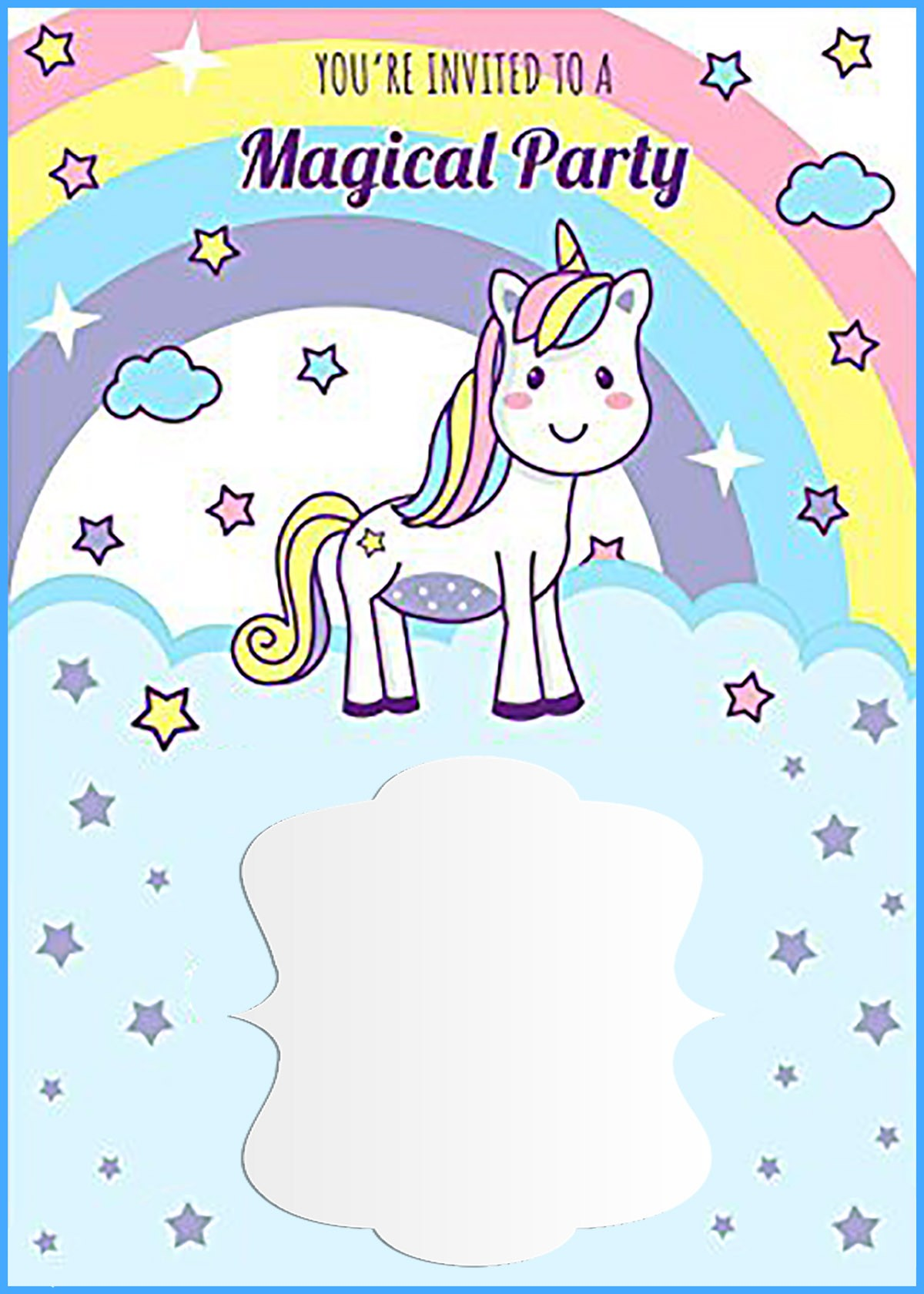 free printable first birthday invitation templates ; Unicorn-Free-Printable-First-Birthday-Invitation-Template