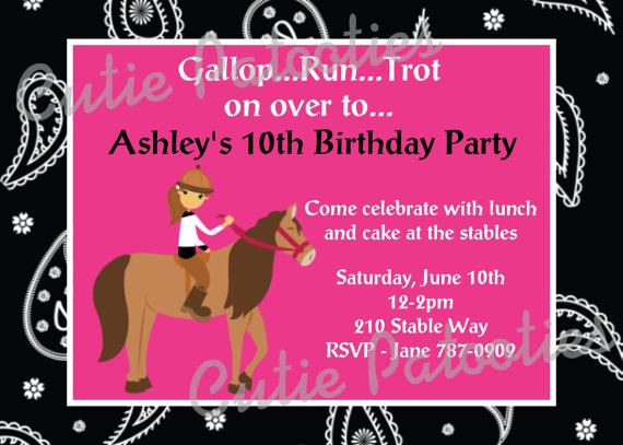 free printable horse themed birthday party invitations ; horse-birthday-invitations-free-printable