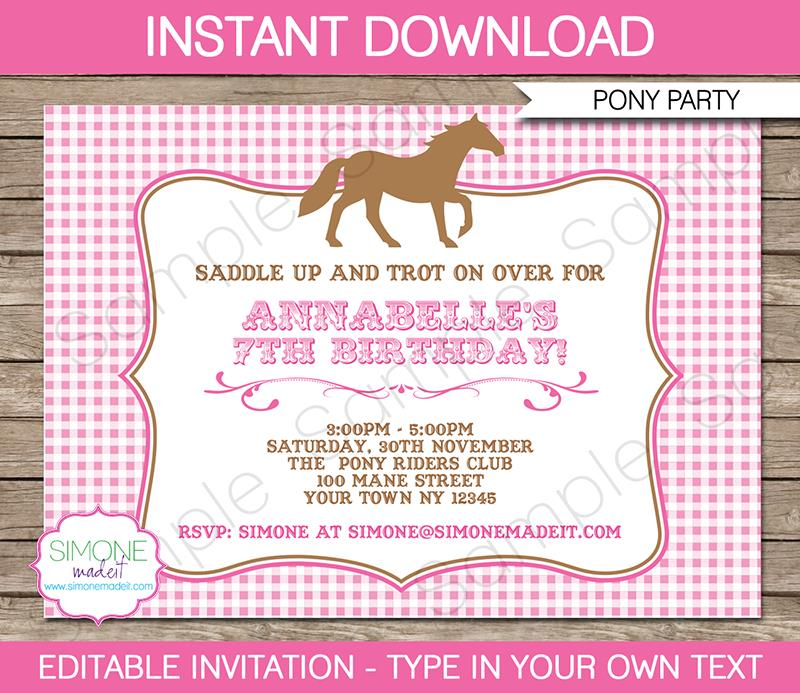 free printable horse themed birthday party invitations ; pony-party-invitations-pony-party-invitations-horse-party-birthday-party-printable