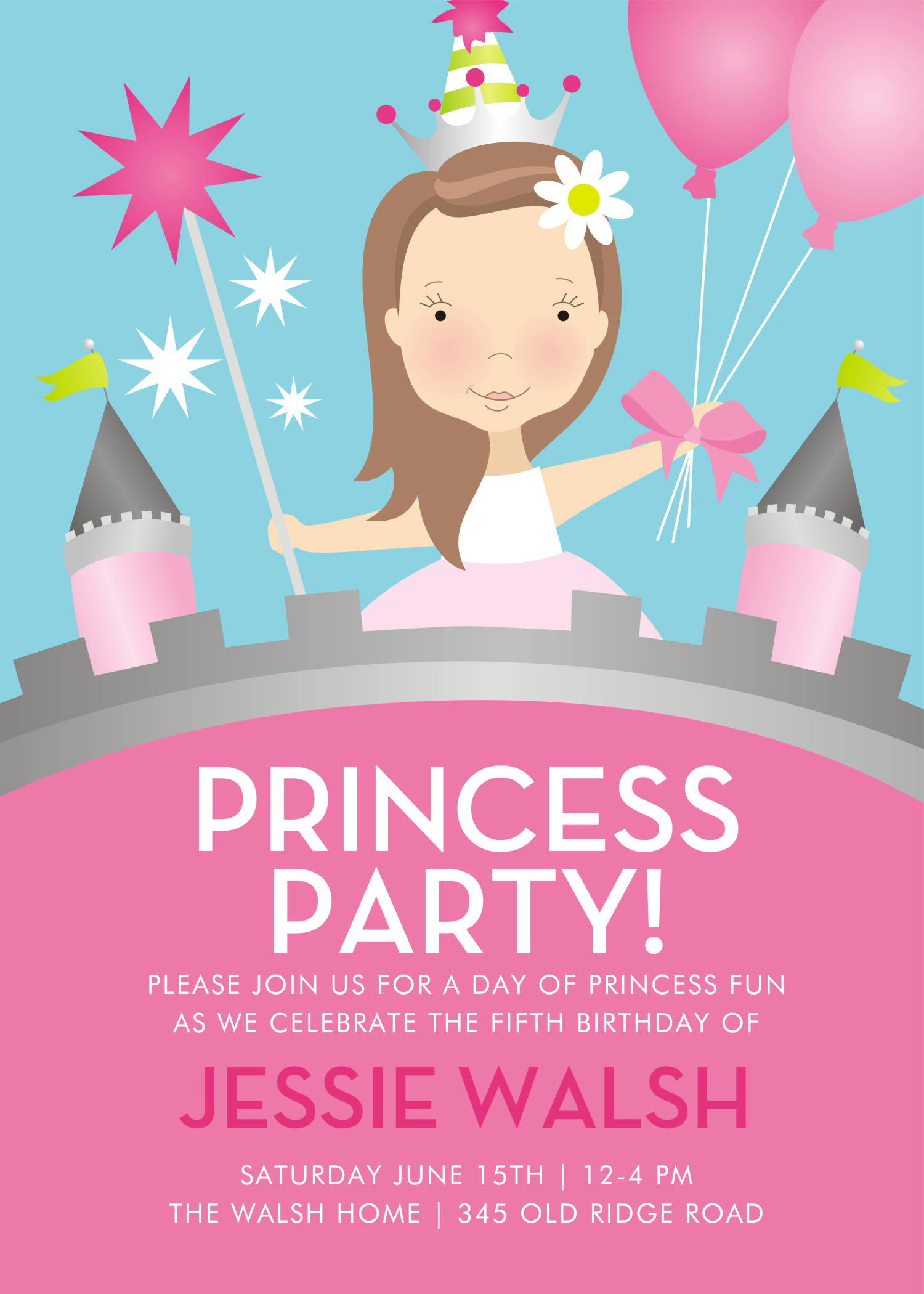free printable invitation cards for birthday party for kids ; Free-Printable-Princess-Birthday-Party-Invitations-Card-Wording