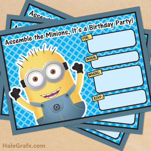 free printable invitation cards for birthday party for kids ; minion-invitation