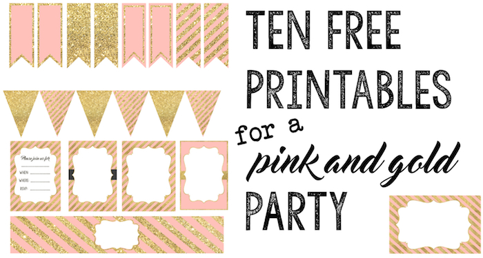 free printable labels for birthday party ; pink-and-gold-party-ten-free-printables