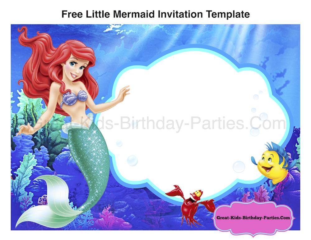Free Printable Little Mermaid Birthday Invitation Templates Font Ariel
