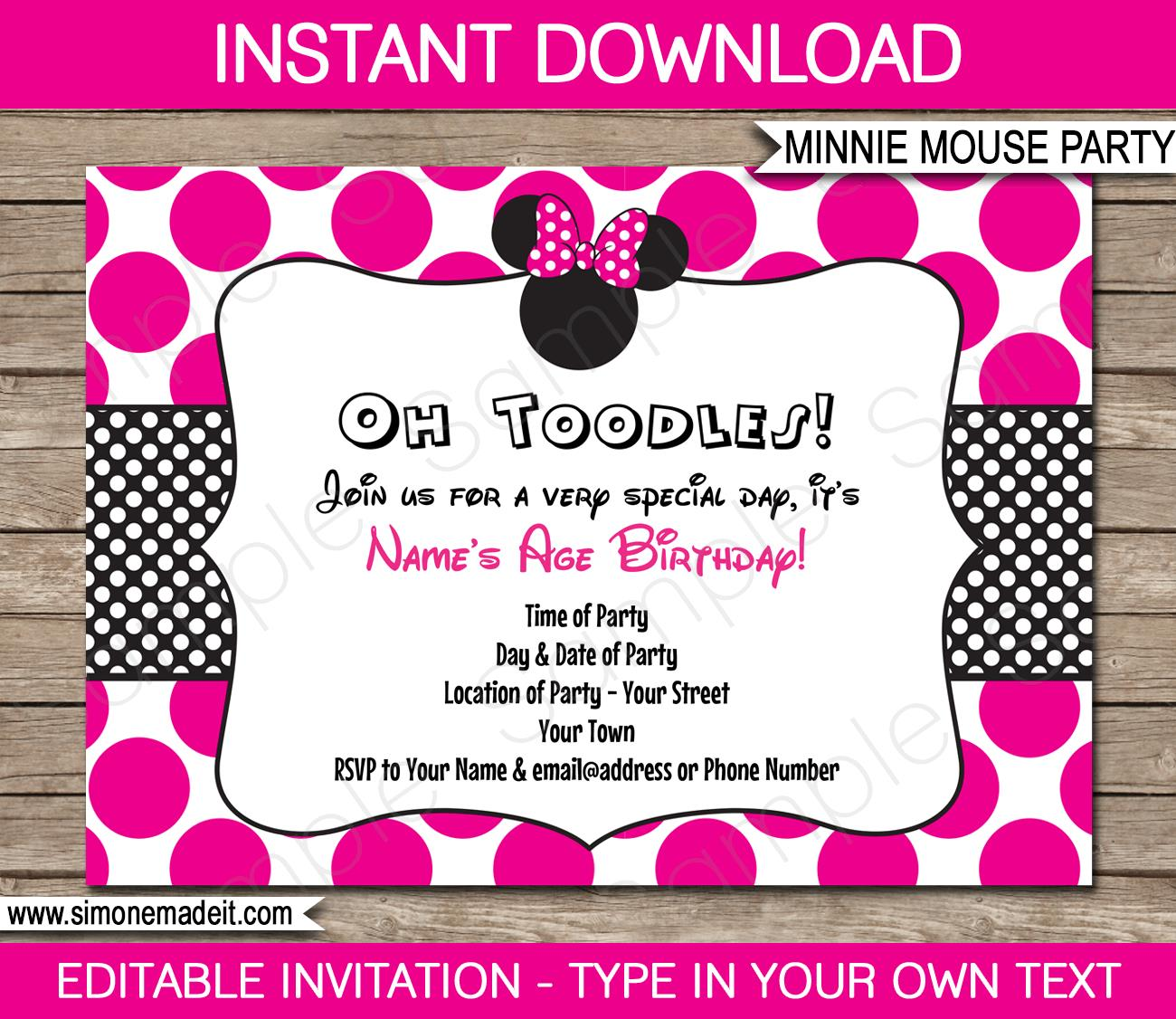 free printable minnie mouse birthday invitation templates ; Printable-Minnie-Mouse-Party-Invitation-Template