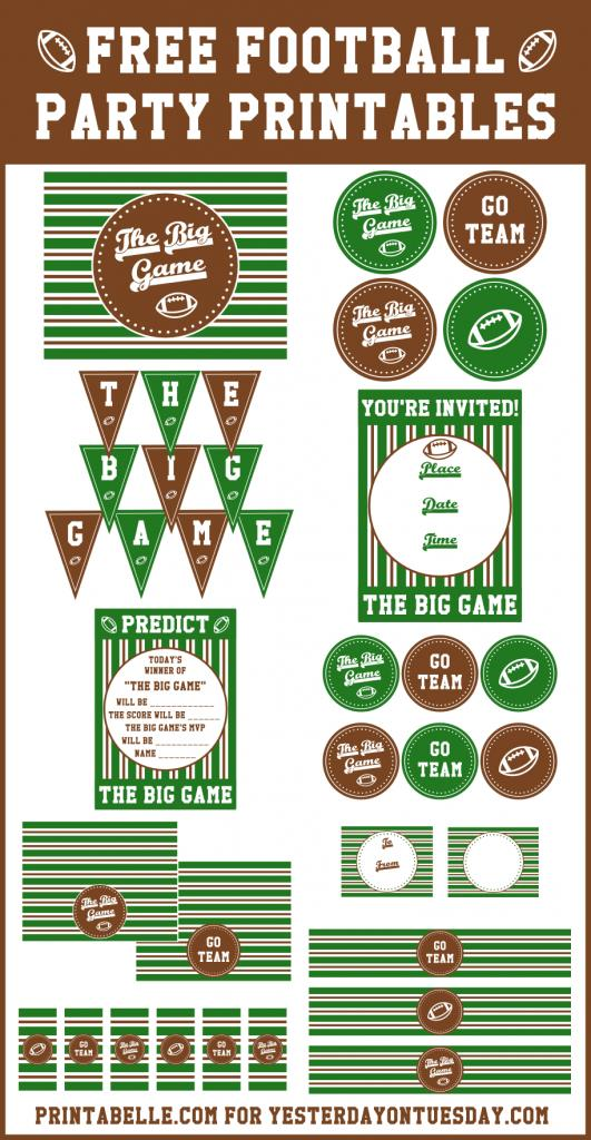 free printable sports themed birthday invitations ; Football-Party-Printables-531x1024