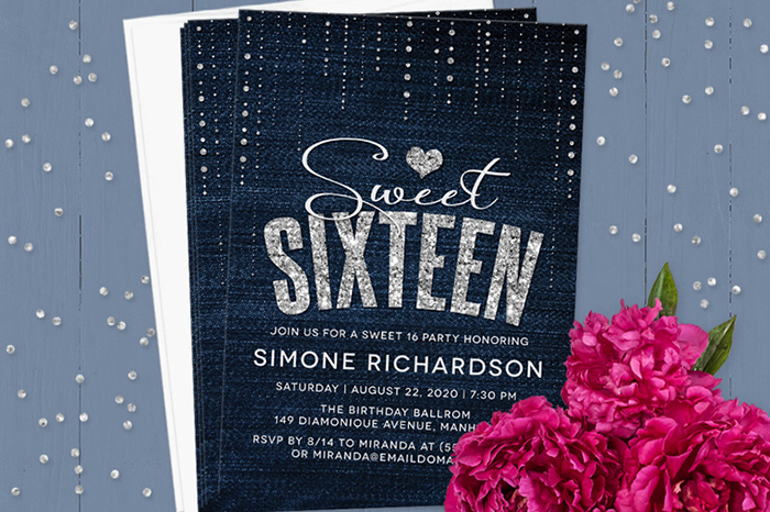 free printable sweet 16 birthday invitation templates ; denim-and-diamonds-sweet-16-party-invitations-by-the-spotted-olive-on-lemon-leaf-prints