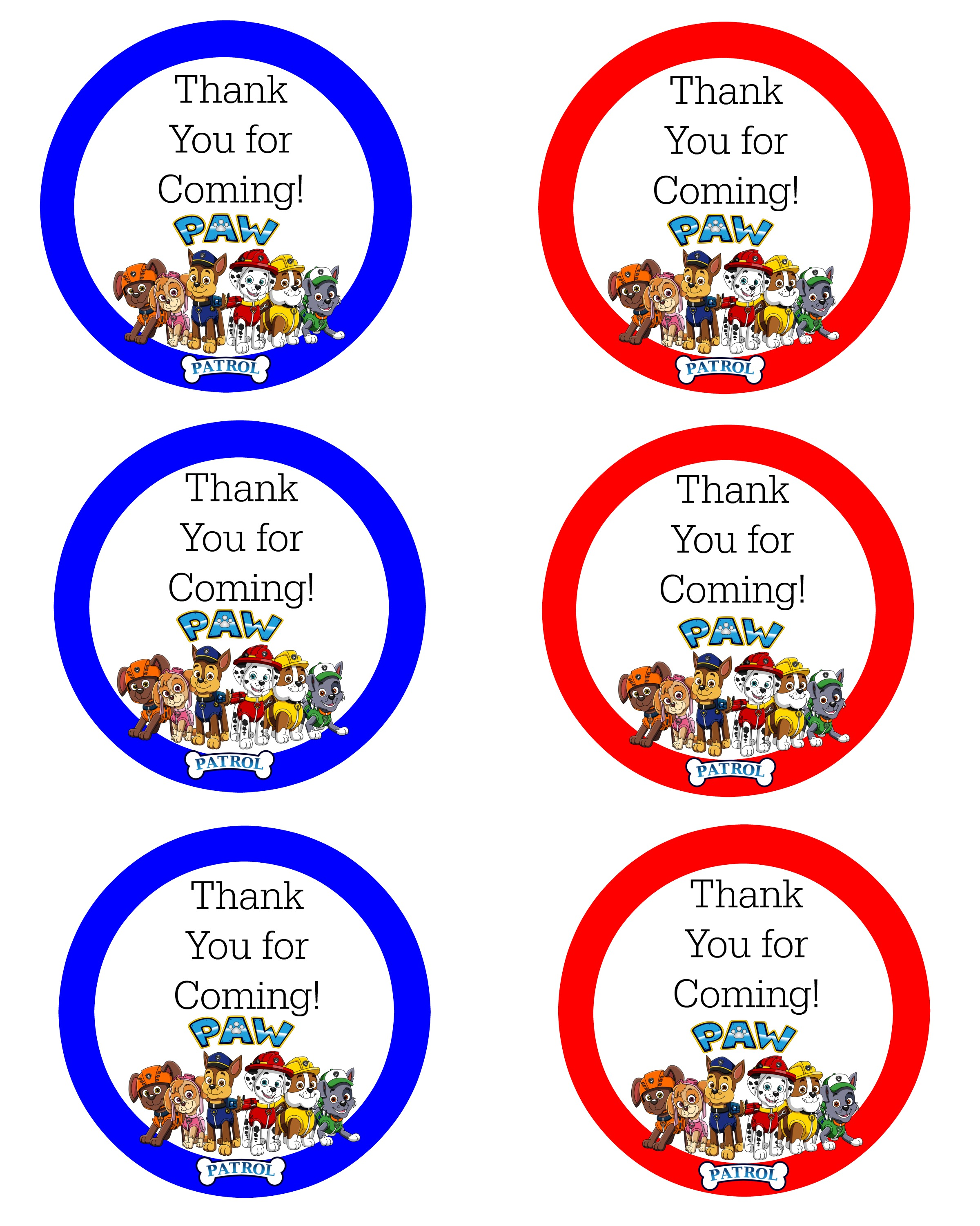 free printable thank you tags for birthdays ; paw-patrol-thank-you-labels