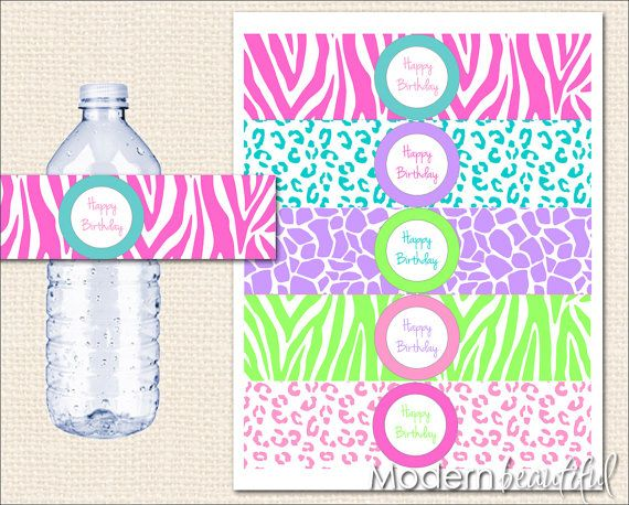 free printable water bottle labels for birthday ; 39a9b2f54690bc22a78656e1db521fec--zebra-birthday-th-birthday