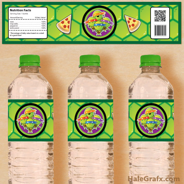 free printable water bottle labels for birthday ; turtle-water-bottle-labels