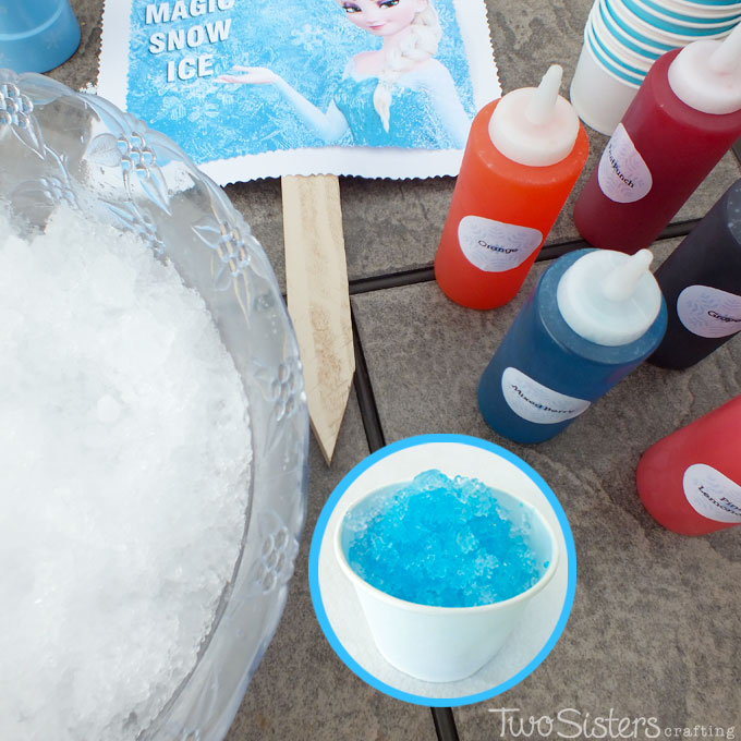 fun activities at birthday parties ; disney-frozen-party-snow-cone-station