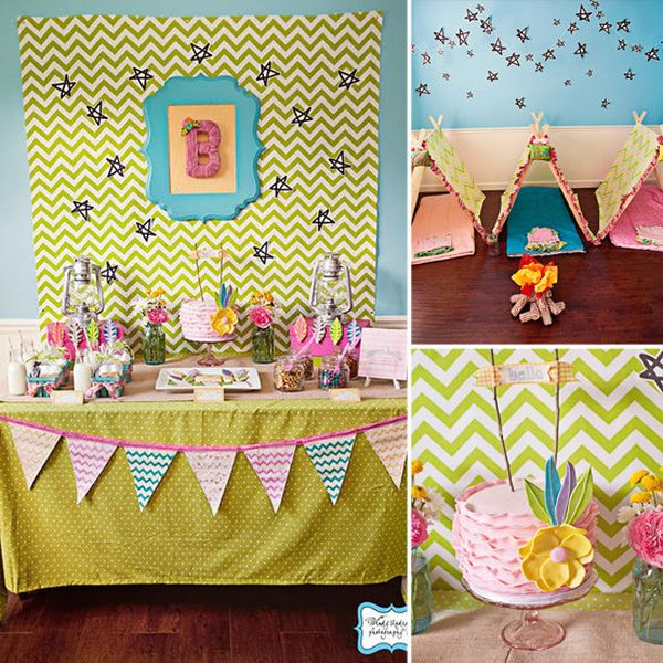 fun activities for birthday parties at home ; camping-themed-party-decor