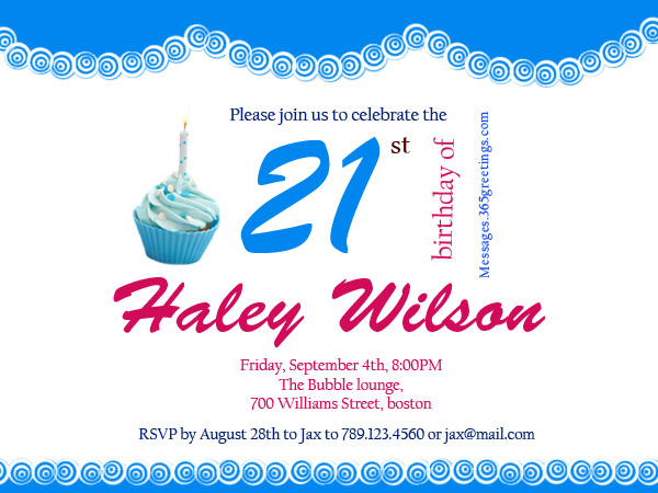 greeting card messages for 21st birthday ; invitation-wording-for-21st-birthday