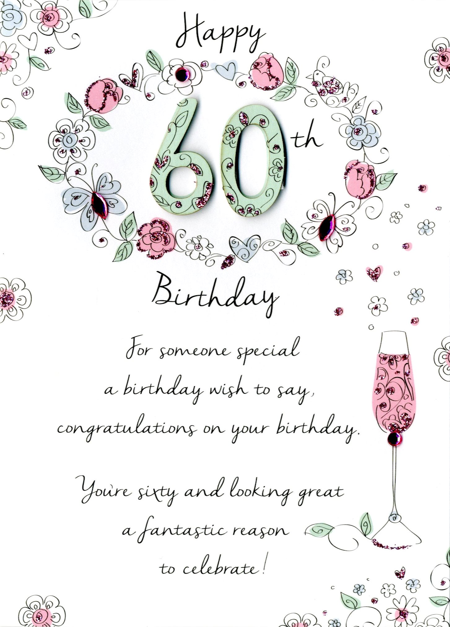 greeting card messages for 60th birthday ; JT029