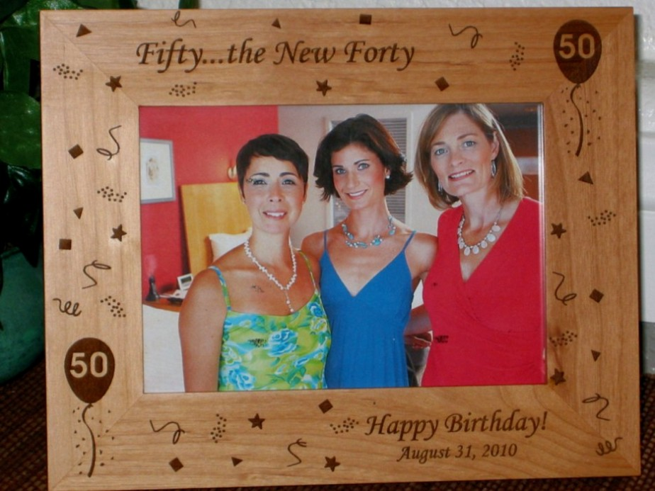 happy 50th birthday photo frame ; 50th-birthday-picture-frame-personalized-frame-laser-engraved-50th-birthday-theme-24