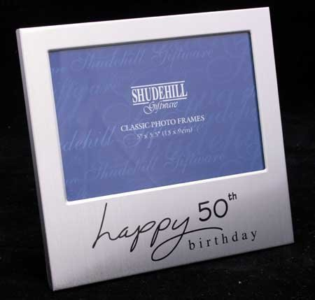happy 50th birthday photo frame ; PerfectFrame-Keepsake-Frames-Happy-50th-Birthday-Photo-Frame-Gift-Satin-Silver-Landscape-Picture-Frame-Size-5-x-3